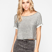 Full Tilt Striped Womens Off Shoulder Top White/Black  In Sizes