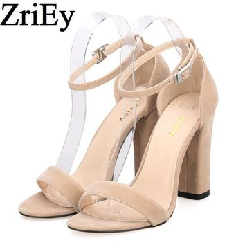 ZriEy ankle strap pumps summer shoes woman large size 35-42 chunky high heels women sa