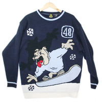 Bulldog on a Snowboard Tacky Ugly Sweater - The Ugly Sweater Shop