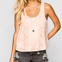 Full Tilt Daisy Lace Womens Tank Pink  In Sizes