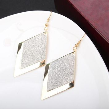 Dressy Vintage Frosted Rhombus Lozenge Shape Drop Earrings for Women by Ritzy