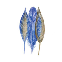 Blue and Brown Feathers, Watercolor Painting, Fine Art, Feather Art, Wall Art, Modern Home, Digital Download Art