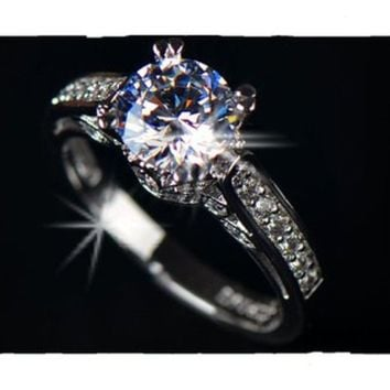 White Gold Plated Cubic Zirconia Prong Sparkling Solitaire Wedding Ring