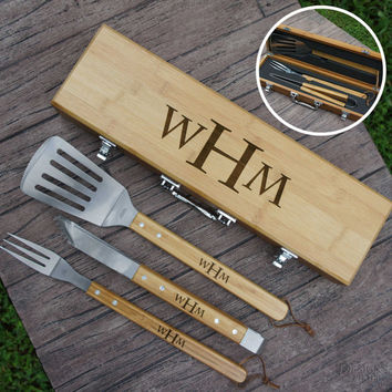 Personalized BBQ Tool Set Engraved with Font Selection including Three Piece Tool Set in Case (Each)