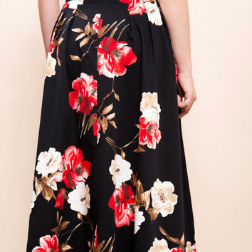 Full Skirt, Long Skirt, Circle Skirt, Midi Skirt, Floral skirt