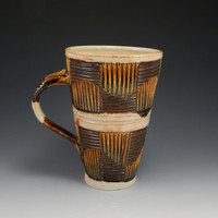 Ceramic cup with handle, brown, tan, hand carved, wheel thrown mug, checker pattern