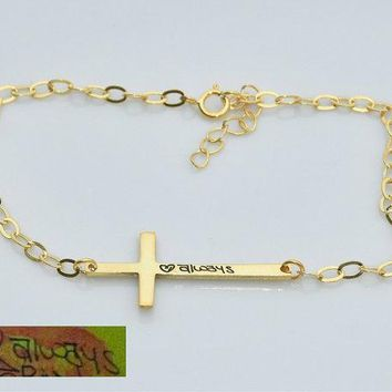 Cross Handwriting bracelet, Signature bracelet