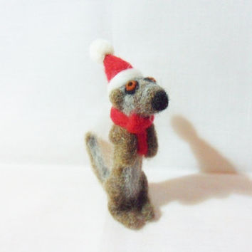 Needle Felted Christmas Meerkat - Christmas Ornament - Finnish & Shetland wool - needle felted meerkat - wool felt meerkat