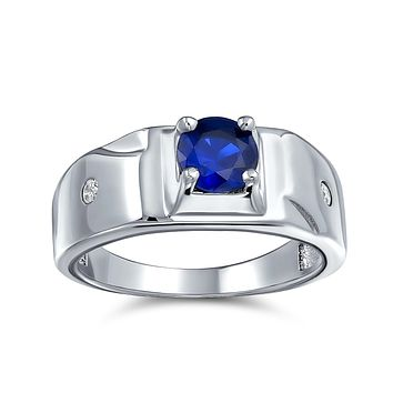 Simulated Blue Sapphire CZ Mens Engagement Ring 925 Sterling Silver
