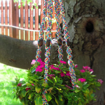 "Large Rainbow Macrame Plant Hanger, 45"", CIRCUS, hanging planter basket, pot holder, hippie, 70s, indoor, outdoor, gifts, gay lesbian pride"