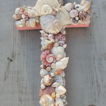 Seashell Cross/Pink Baptism Christening Cross/Cradle Cross/Nursery Wall Decor
