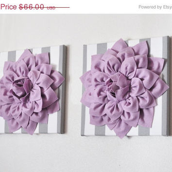 "MOTHERS DAY SALE Two Wall Art -Lilac Dahlia on Gray and White Stripe 12 x12"" Canvas Wall Hanging- Baby Nursery Wall Decor-"