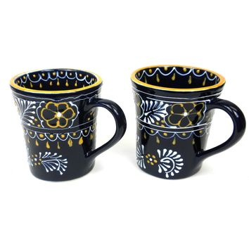 Mexican Ceramic Pottery Mugs Pair of Flared Cups - Blue Encantada