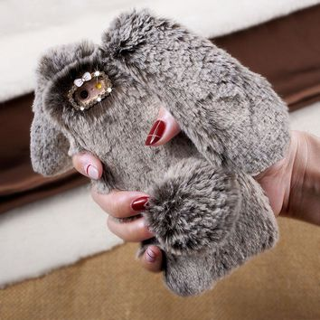 Case Cover for iPhone 6 6s 7 Plus 5 Mobile Phone Bag Soft Warm Rabbit Furry Fur TPU Back SmartPhone Cases for iPhone 6 s 6 Shell