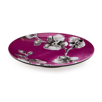 Set of 6 Black Orchid Melamine Appetizer and Dessert Plate