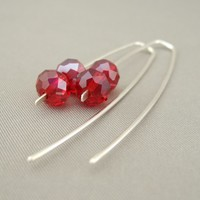 Long Red Czech Glass Sterling Silver Sleek Fresh Drop Earrings | The Silver Forge Handcrafted Jewellery
