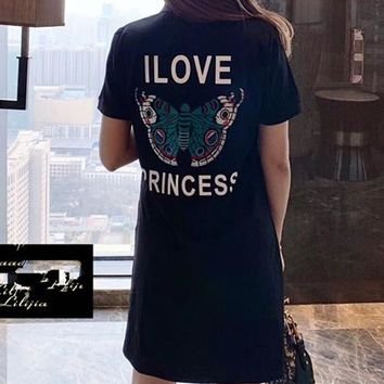 """Gucci""Women Fashion Casual Personality Multicolor Letter Butterfly   Print Short Sleeve T-shirt Dress"
