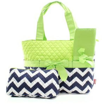 Personalized Navy and Lime Chevron Zig Zag Diaper Bag with Changing Pad   Zig Zag Diaper Tote  Chevron Quilted Diaper Bag