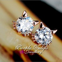 18K Rose Gold Plated Sparkling Cute Cat Stud Earrings W/ Swarovski Crystals