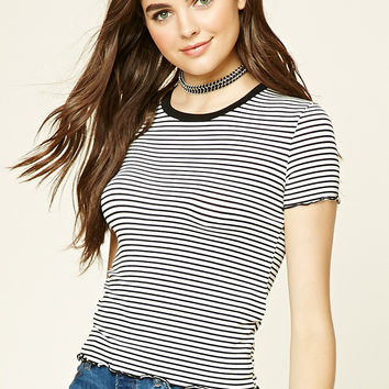 Striped Scalloped Tee