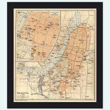 Old Map of Calcutta Kolkata, India 1914 Antique Vintage