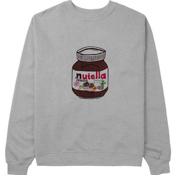 nutella sweater Gray Sweatshirt Crewneck Men or Women for Unisex Size with variant colour