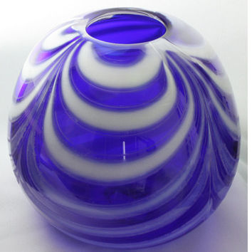Transparent Closed Cobalt Blue Bowl with Opaque White Swirls, Hand Blown Glass Bowl - Free Shipping