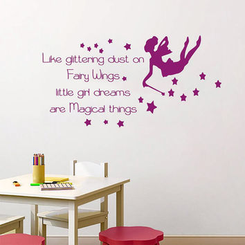 Wall Decal Quote Little Girl Dreams Are Magical Things Vinyl Stickers Art Mural Baby Girl Bedroom Interior Design Kids Nursery Decor KY93