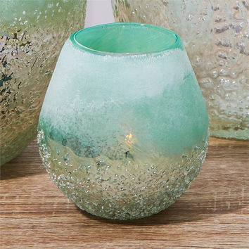 Waterscape Seafoam Hand Blown Glass Votive Candle Holder