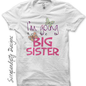 Iron on Big Sister Shirt PDF - Girls Iron on Transfer / Preganancy Announcement Outfit / Girls Big Sister Tshirt / Butterfly Clothes IT316-C