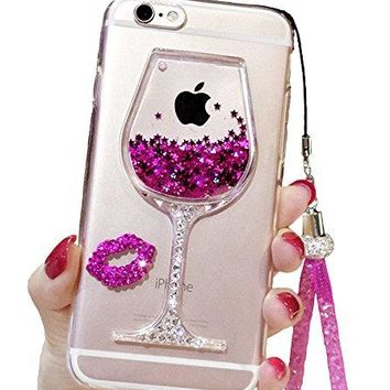 iPhone 6 Plus Liquid Case, 6s Plus Case, Black Lemon Goblet Wine Glass Liquid Quicksand Flowing Floating Bling Glitter Sexy Makeup Case for Girls with Wrist Strap (Rose)