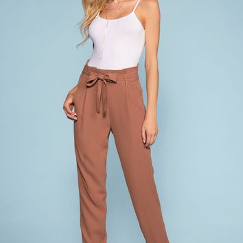 Christine High Waisted Tie Front Pants - Marsala