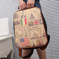 [grls7200006]Retro Leisure American Flag & Figure & Tree& Spider & Leopard Print Backpack