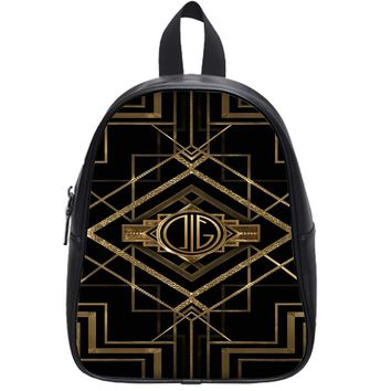 Great Gatsby Gold Monogram School Backpack Large