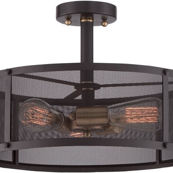 0-058765>Union Station 3-Light Semi-Flush Mount Western Bronze