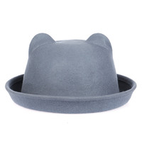 Gray Cat Ear Cloche Hat
