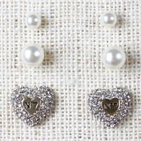 No7 Heart And Pearls Earrings