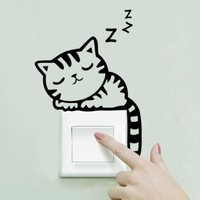 wall stickers Cat Switch Decor art cartoon decals