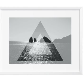 TRI Vast Ocean Wall Art, Art Print, Black and White, Contemporary, 12x16