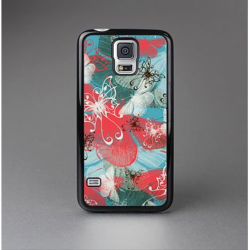The Blue & Coral Abstract Butterfly Sprout Skin-Sert Case for the Samsung Galaxy S5