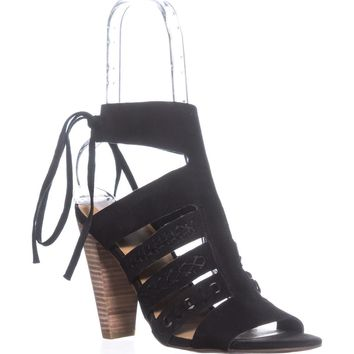 Lucky Brand Radfas Lace-Up Sandals, Black, 6.5 US / 36.5 EU