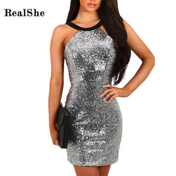 RealShe Women Dress 2016 Autumn Winter Long Sleeve Sexy Sequins Bodycon Club Wear Short Party Dresses Vestido