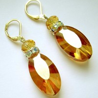 Gold earrings with crystals fashion stylish jewelry on Handmade Artists' Shop