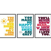 You are my sunshine SET OF THREE 13x19 by theinksociety