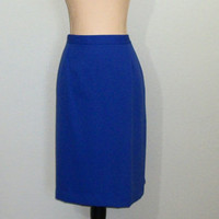 Plus Size 16 Skirt Vintage 80s Skirt Minimalist Womens Skirts 1980s Royal Blue Skirt Blue Midi Skirt FREE SHIPPING Womens Vintage Clothing