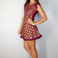 Vintage Maroon and Gold Ethnic Boho Tunic Dress with Ruffle, XS/S, Red Wine and Gold Indian Tunic