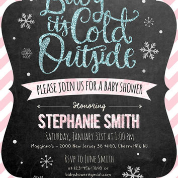 """Customizable """"Baby it's Cold Outside"""" Winter Themed Baby Shower Invitation – Printable Card"""