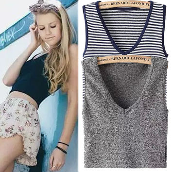 Sexy Comfortable Stylish Hot Bralette Summer Beach Knit Camisole High Rise Crop Top Sleeveless V-neck Slim T-shirts Vest [4919452612]