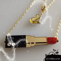 Red Lipstick Glittery NECKLACE mua by didepux on Etsy