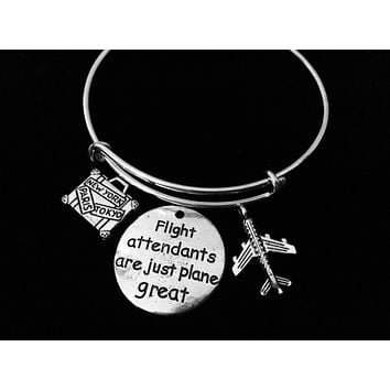 Suitcase Airplane Flight Attendants are Just Plane Great Adjustable Charm Bracelet Expandable Wire Bangle Stewardess Gift Trendy